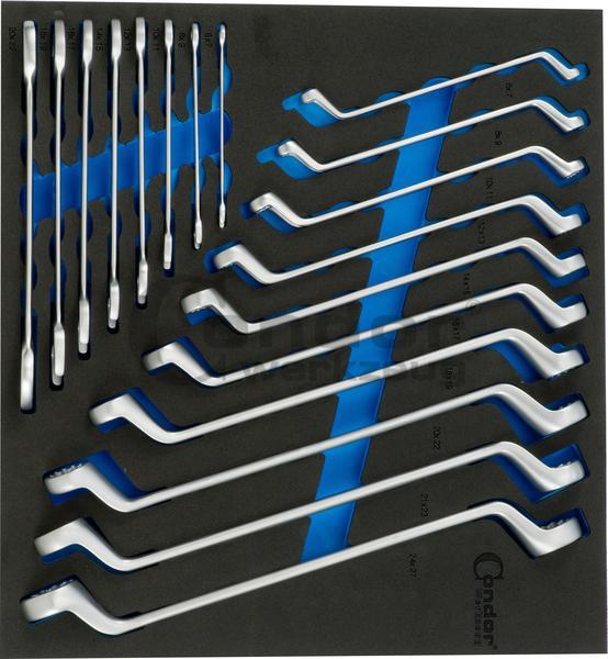 Foam vložka kľúč očko-očko 2130/8T + Rvgschl. 2140/10T 2/3, 18-dielna.