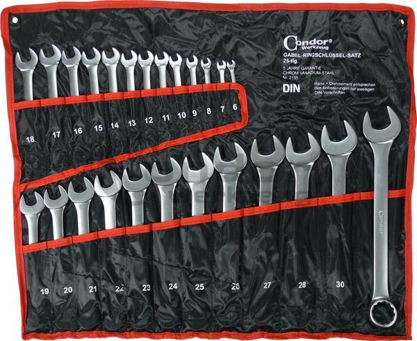 Sada kľúčov očko-vidlica, 25-dielna., matný chróm 6-32 mm