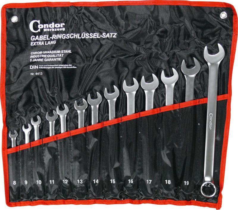 Sada kľúčov očko-vidlica, 13-dielna., dlhá, 8-22 mm