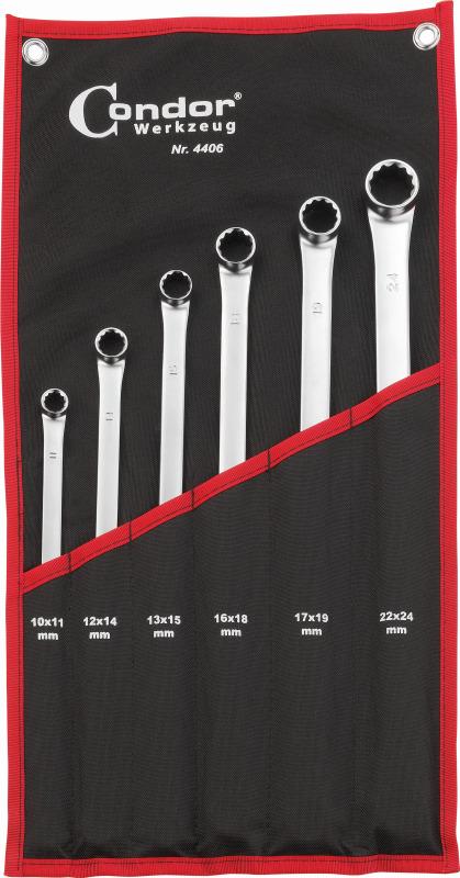 Sada kľúčov očko-vidlica, 6-dielna., extra dlhá, 10-24 mm