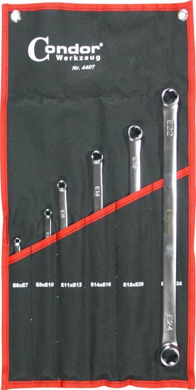 Sada kľúčov očko-vidlica, 6-dielna., extra dlhá, E6-24