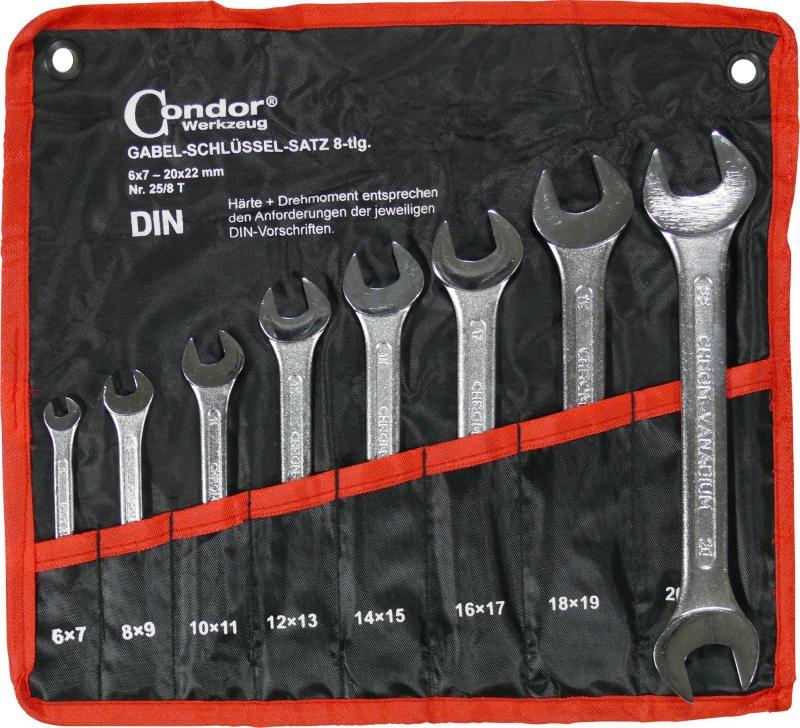 Sada kľúčov vidlica-vidlica, 8-dielna., 6-22 mm