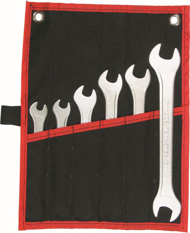 Sada kľúčov vidlica-vidlica, 6-dielna. extra úzka, 8-19 mm