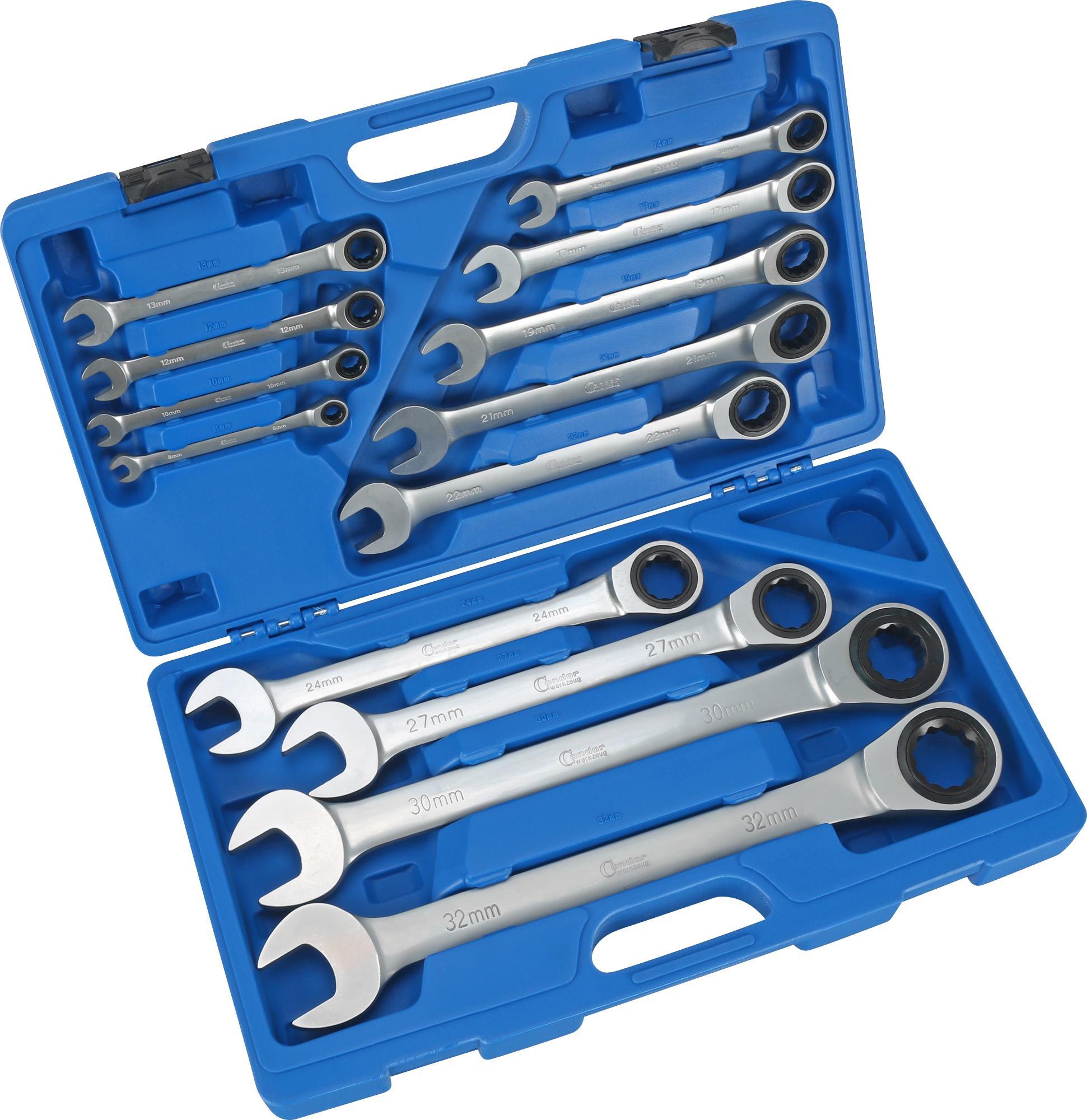 Sada račňových kľúčov očko-vidlica, 13-dielna., 8-32 mm