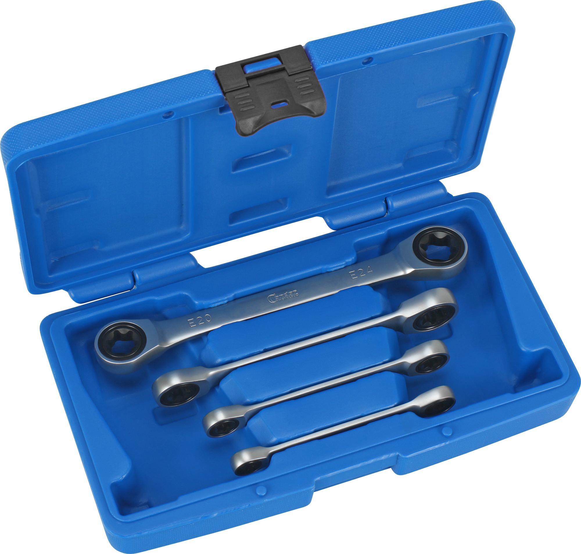 Račňové kľúče sada kľúčov očko-vidlica, 4-dielna., E-Profil E6-24