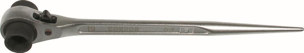 Kľúč na lešenie s račňou, 19x22 mm