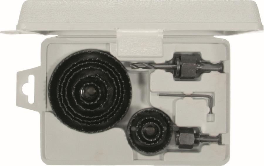 Korunkový vrták, 12-dielna., dlhý 25 mm, ø 19-82 mm
