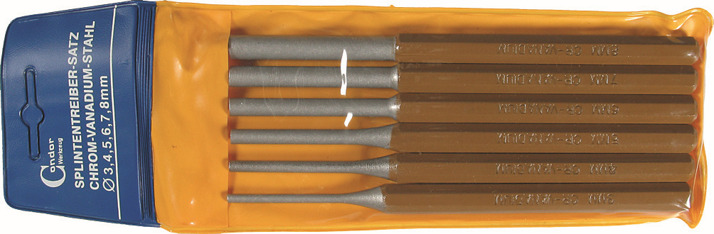 Vyrážače-sada, 6-dielna., 150 mm, ø 3-8 mm