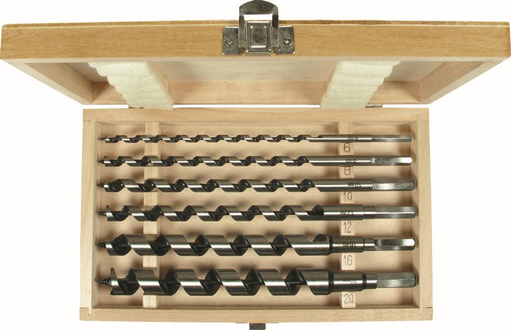 Vrták do dreva - dlhý-sada, 6-dielna., 230 mm, ø 6-20 mm