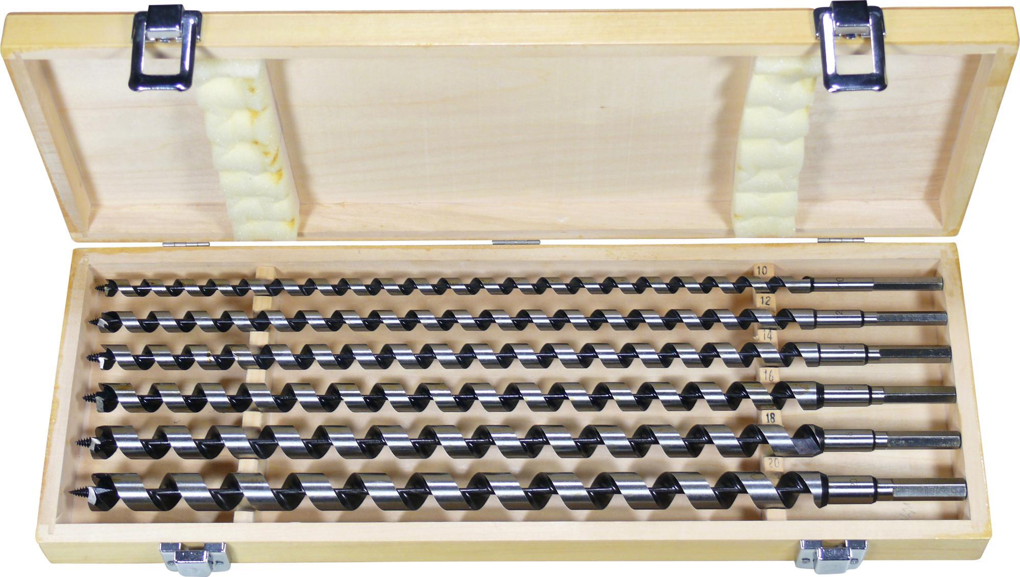 Vrták do dreva - dlhý-sada, 6-dielna., 460 mm, ø 10-20 mm