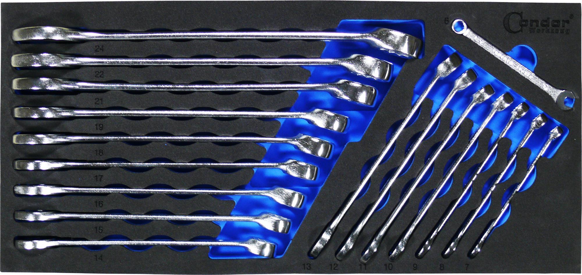 Foam vložka Kľúč očko-vidlica Nr. 35/17T, 17-dielna., 6-24 mm