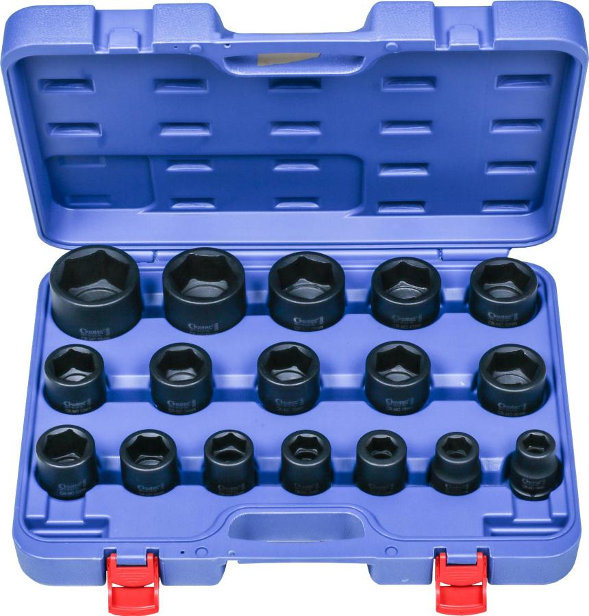 "Impact Socket Set, 17 pcs., 3/4"", CrMo, hex 19-55 mm"