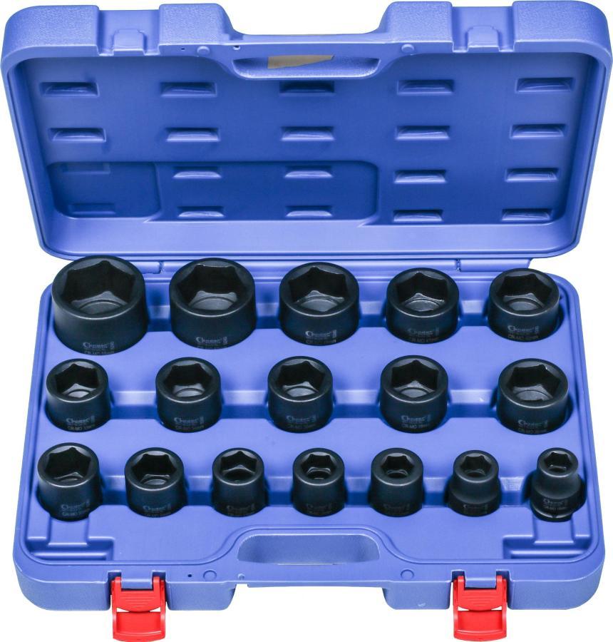 "Impact Socket Set, 17 pcs., 3/4"", CrMo, hex 19-55 mm"