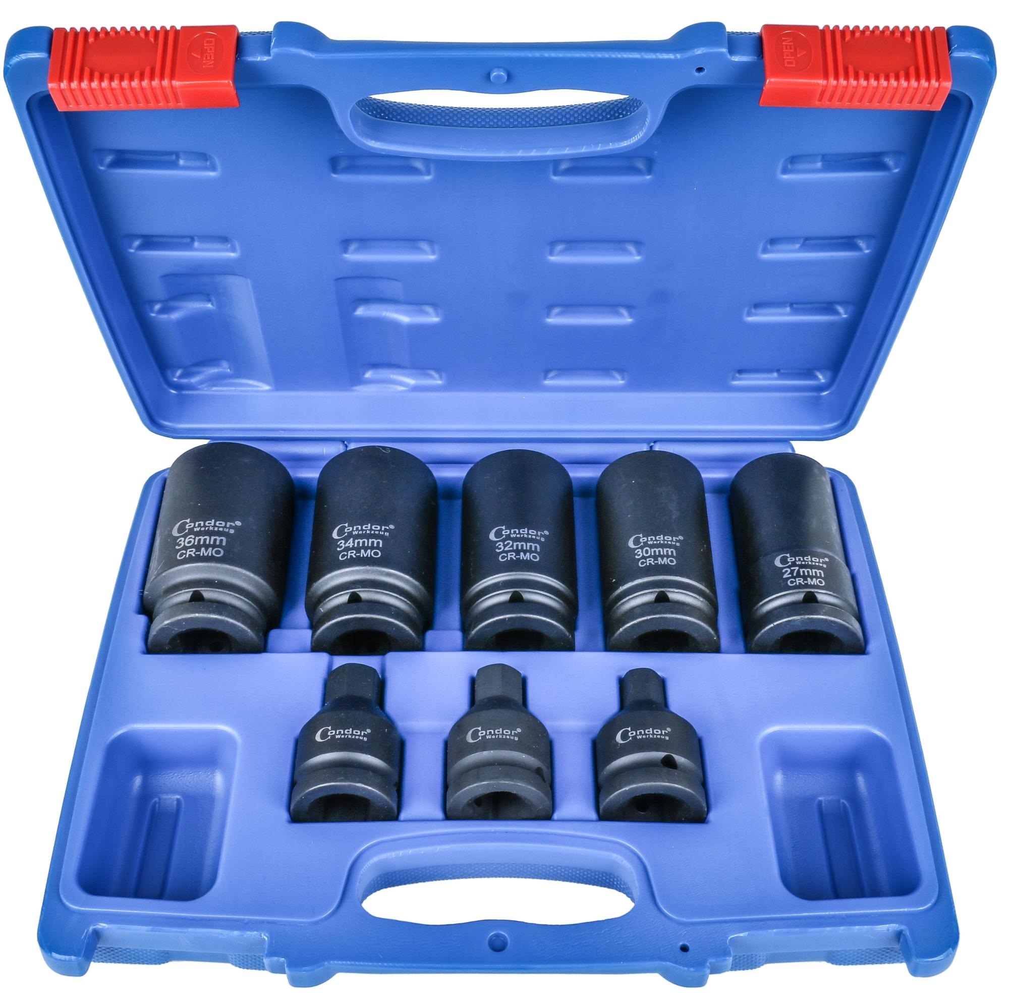 "Drive Shaft Socket Set, 8 pcs., 3/4"", CrMo, bi-hex + hex"