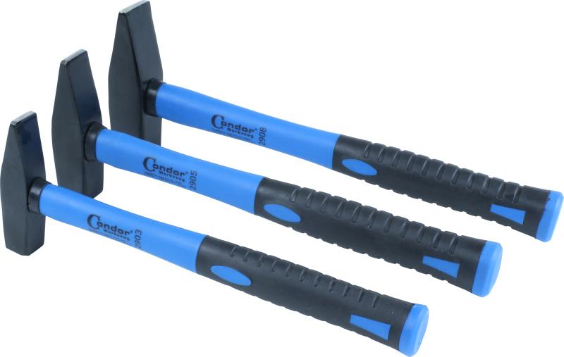 Machinist Hammer Set, fibreglass shaft, 3-pcs., 300/500/800 g