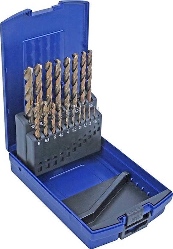 HSS Twist Drill Set, 5% cobalt alloy, 19 pcs., 1-10 mm
