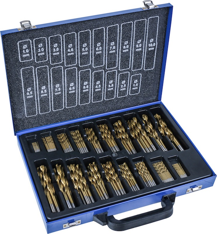 Titanium Coated HSS Twist Drill Set, 170 pcs., 1-10 mm