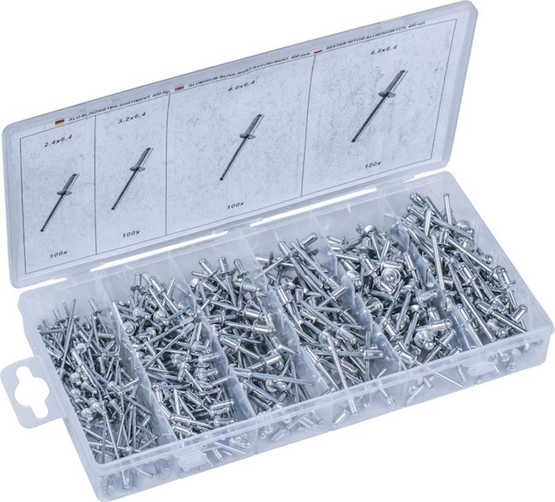 Rivet Set, Aluminium, 400 pcs., 2.4 - 3.2 - 4.0 - 4.8 mm