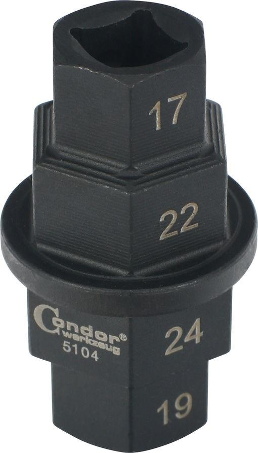 Special Socket for Motorbike Axle Shafts, 17-19-22-24 mm